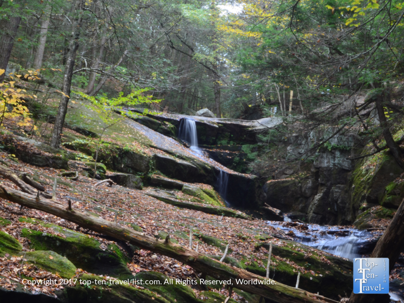 Pretty waterfall views in the Enders State Forest in Granby, Connecticut