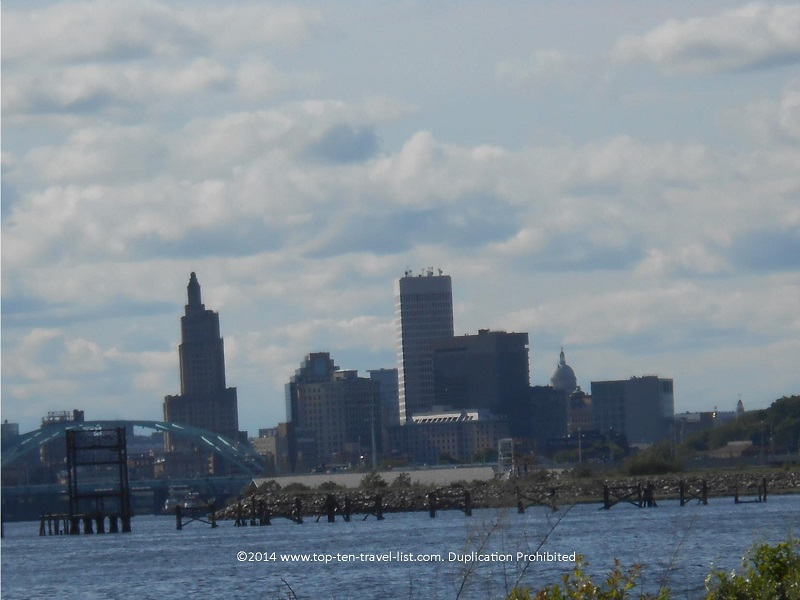 The Providence skyline seen from the East Bay bike path