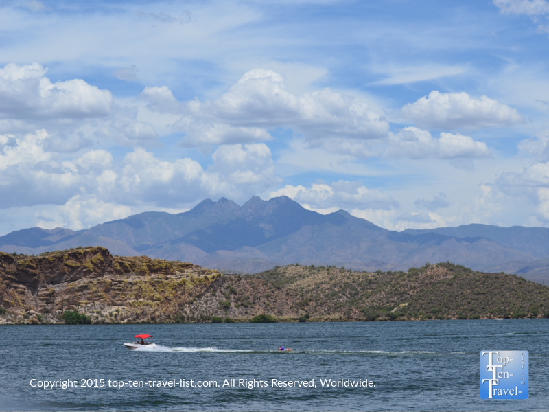 Views of the Four Peaks mountain range from Saguaro Lake in Arizona