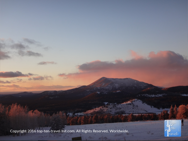 A gorgeous winter sunset in Flagstaff, Arizona
