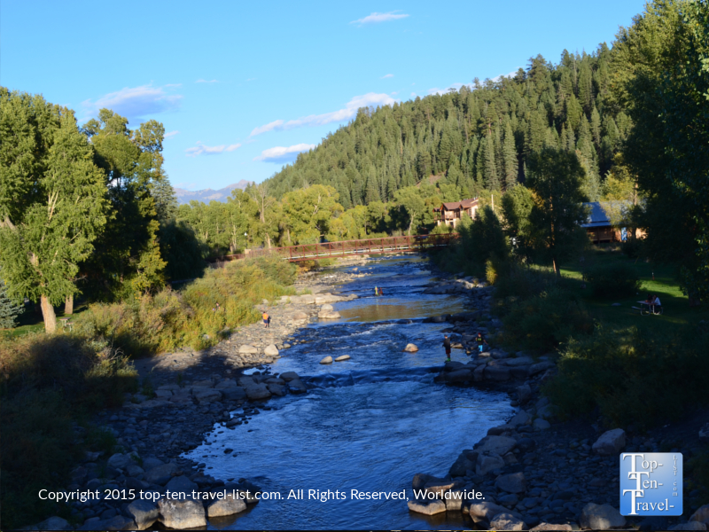 Beautiful views of the river at The Springs hot springs resort in Pagosa Springs, Colorado