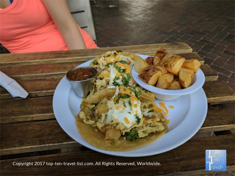 Delicious breakfast tacos at Seis Kitchen at Mercado San Agustin in Tucson, Arizona