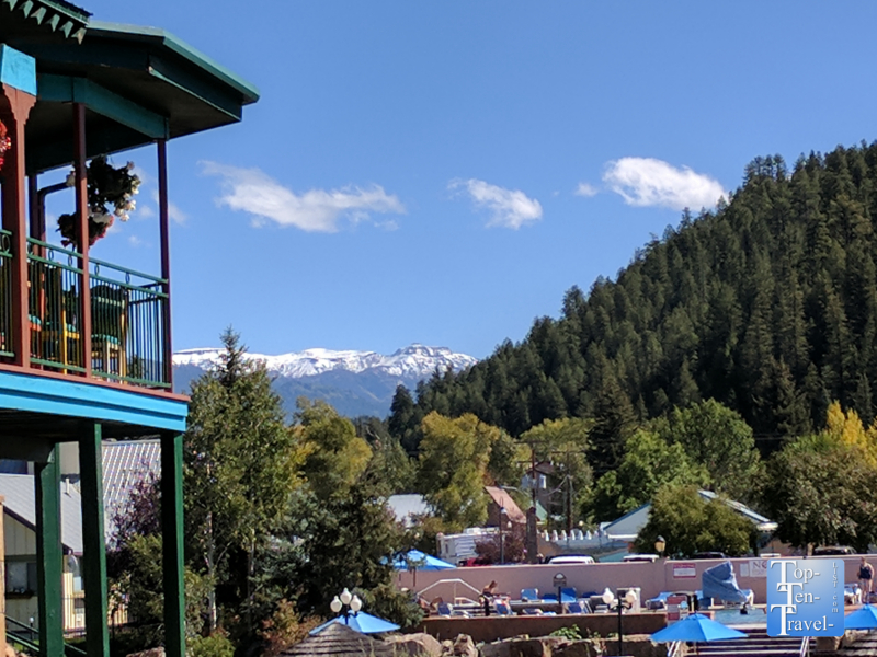 Pretty mountain views from the River Pointe Coffee House in Pagosa Springs, Colorado