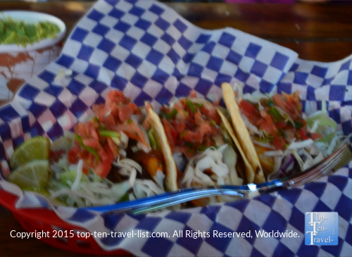 Delicious shrimp tacos at Kip's Grille in Pagosa Springs, Colorado