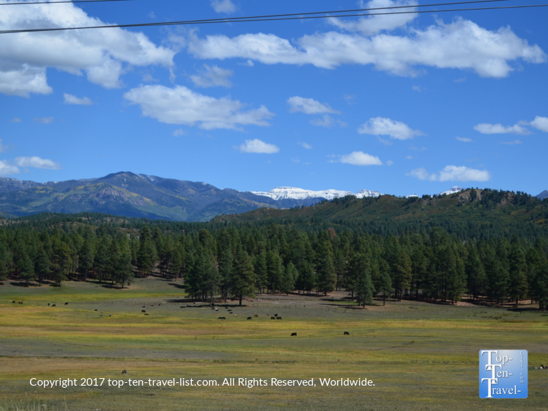 Gorgeous snow capped mountain views in Pagosa Springs, Colorado
