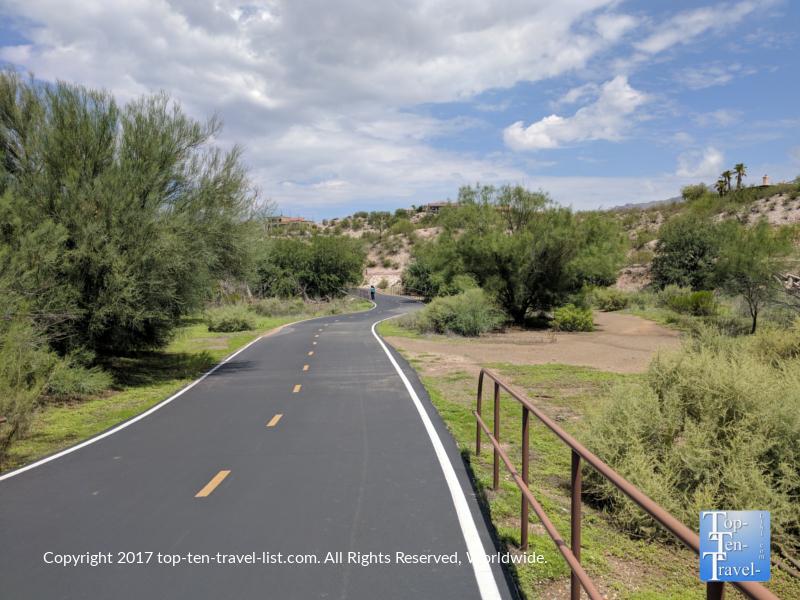 The Rillito River bike path in Tucson, Arizona