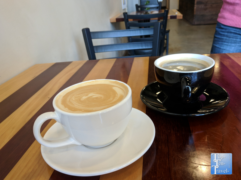 Americano and White Mocha at Cafe Ponte in Portland, Oregon