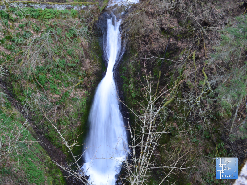 The beautiful Shepperd's Dell waterfall along the Columbia River Gorge Scenic Highway in Oregon