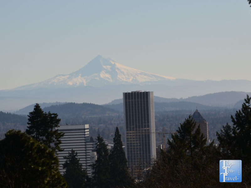 Great views of Mt Hood on a clear day at the Portland Japanese Garden