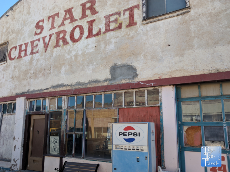 Abandoned Chevrolet station in ghost town Lowell, Arizona