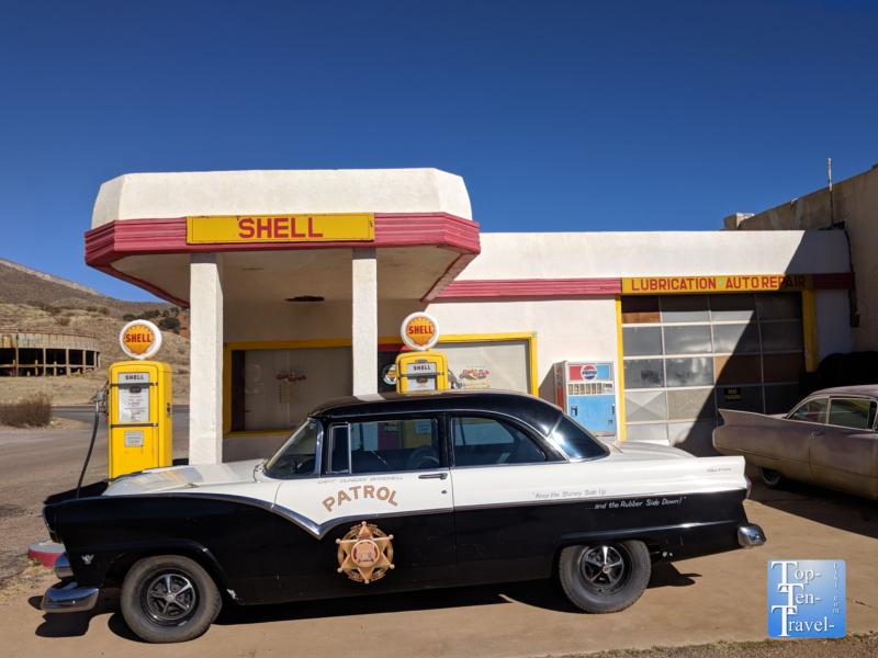 Old Shell gas station in ghost town Lowell, Arizona
