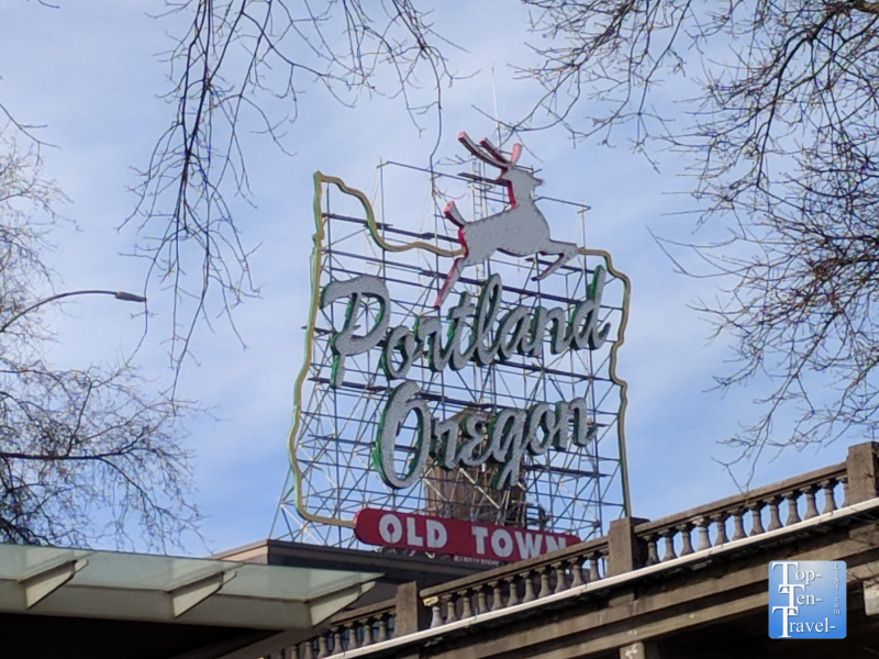 Old Town Portland White Stag sign