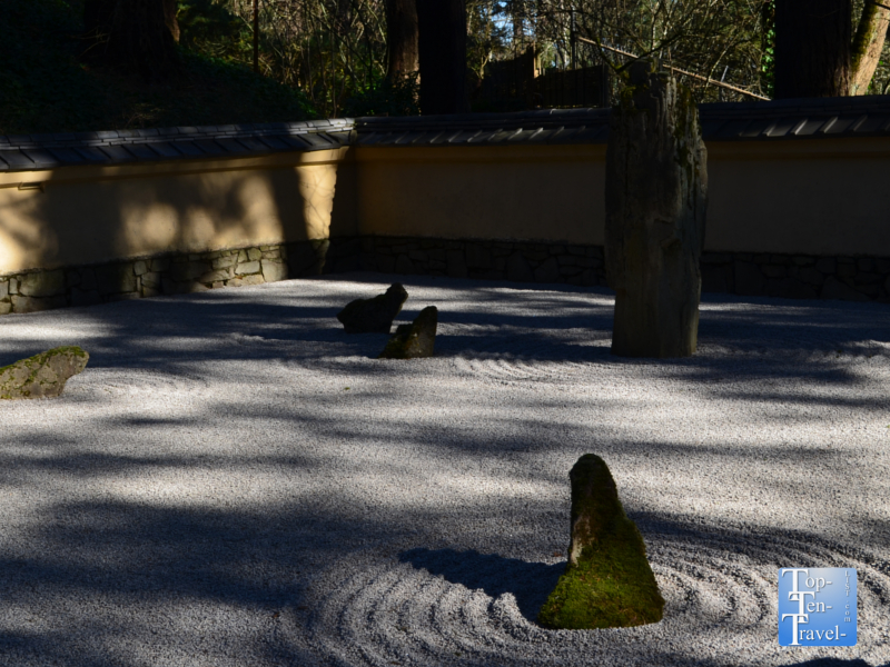 Relaxing-sand and stone garden at the Portland Japanese Garden