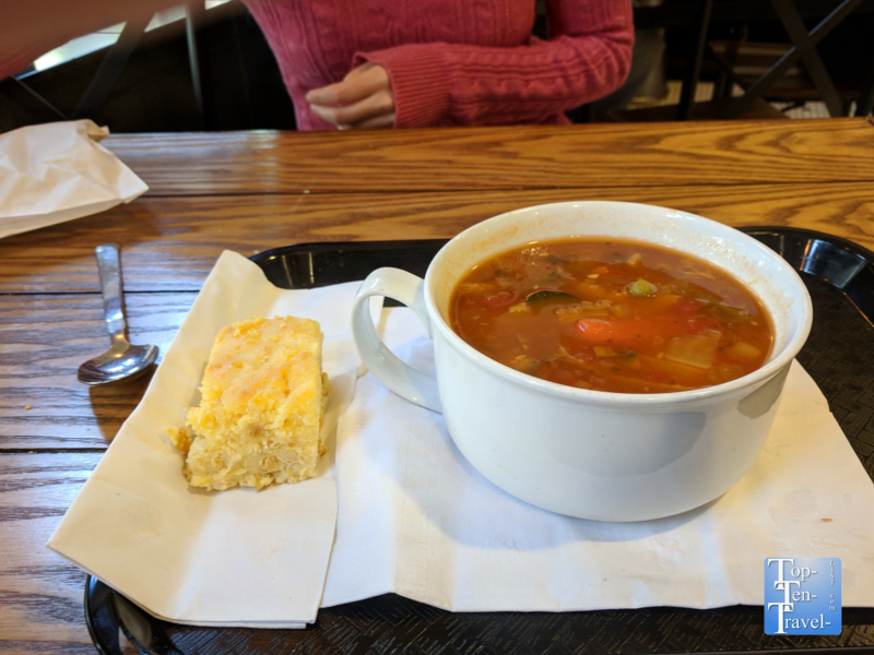 Vegetable soup and homemade cornbread at the Portland Kettle
