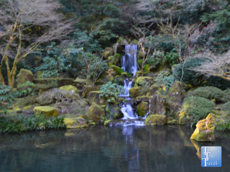 Beautiful waterfall at the Portland Japanese Garden