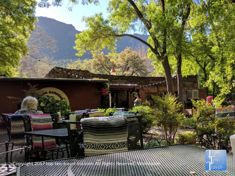 Beautiful shady patio at Indian Gardens in Sedona, Arizona