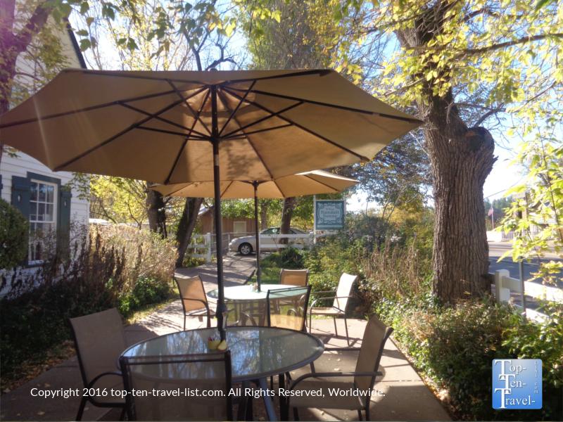 Shady patio at the Randall House in Pine, Arizona
