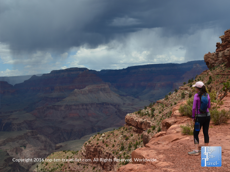 Hiking the Grand Canyon South Kalibab trail during a monsoon storm