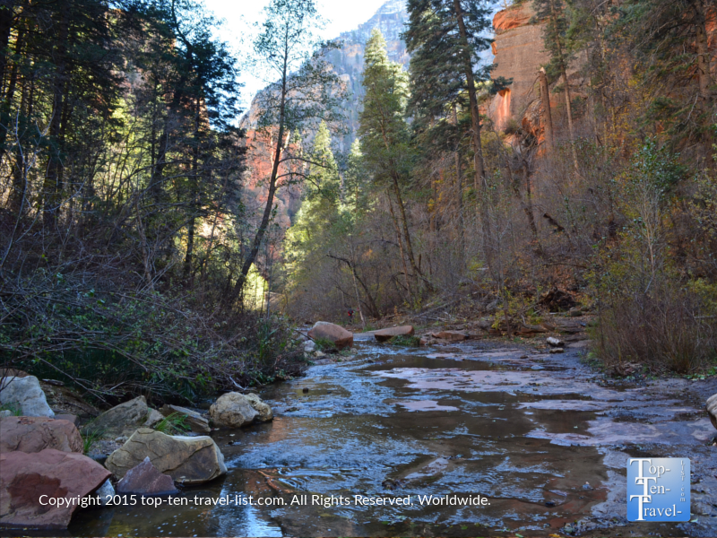 Crossing a creek along the West Fork trail in Sedona, Arizona
