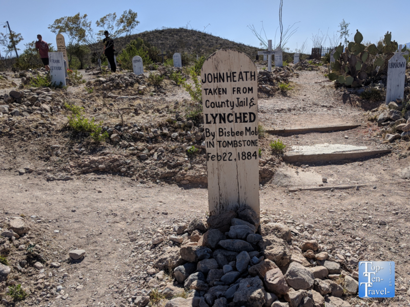 Old weathered gravestones at Boothill Graveyard in Tombstone, Arizona