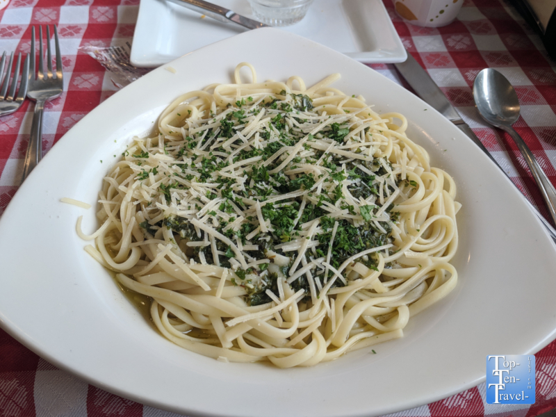 Pesto pasta at Shevrek's Italian in downtown Silver City, New Mexico