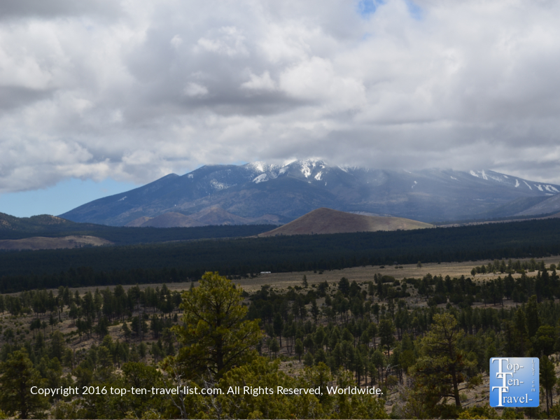 Stunning views of the San Francisco Peaks from the Slate Mountain trail near Flagstaff, Arizona