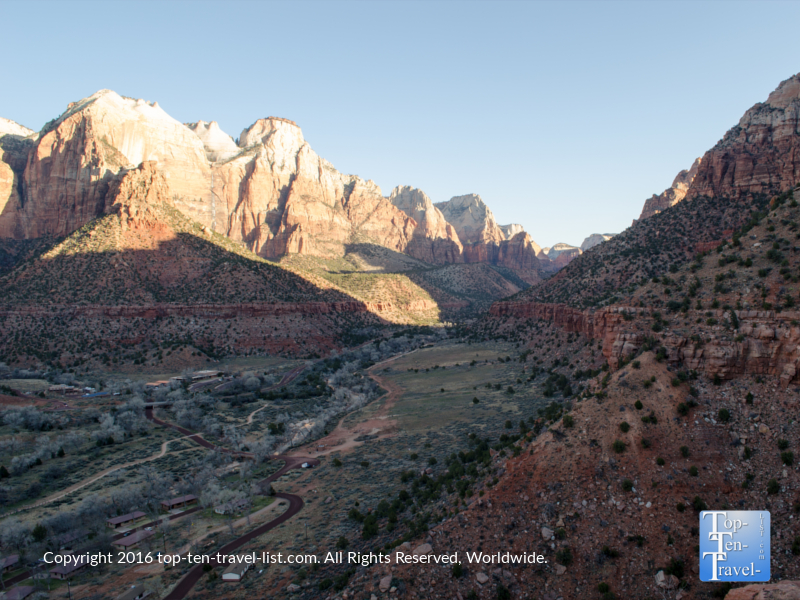 Stunning views from the Watchman Trail at Zion National Park in Utah