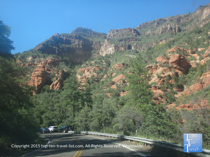 Beautiful red rock views along Oak Creek Canyon scenic drive in Arizona