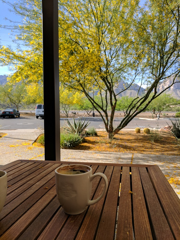 Enjoying a coffee and great mountain views at Savaya in Tucson, Arizona