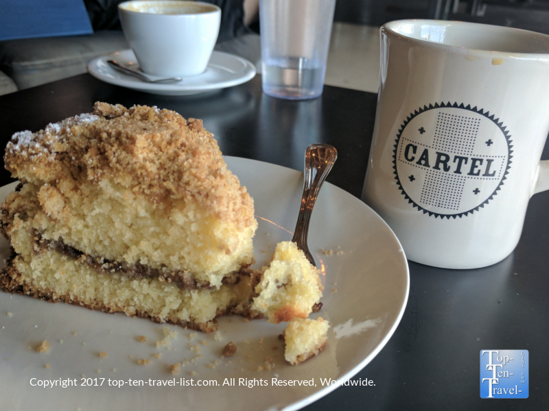 Delicious coffee and coffeecake at Cartel in Tucson, Arizona