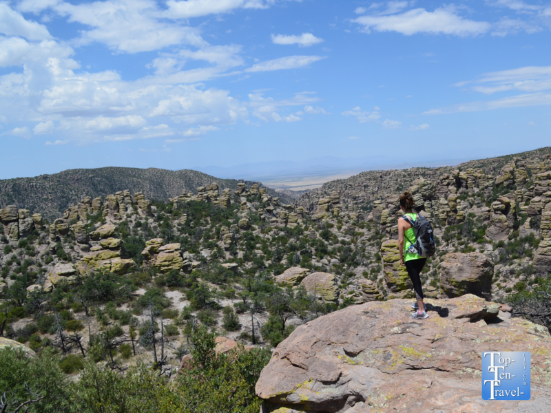 Enjoying the magnificent views from a scenic overlook along the Masai Nature trail at Chiricahua National Monument