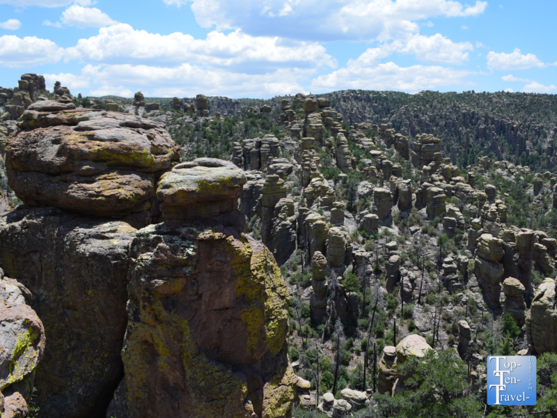 Views of the hoodoos along the Echo Canyon Grottos trail at Chiricahua National Monument in Southern Arizona