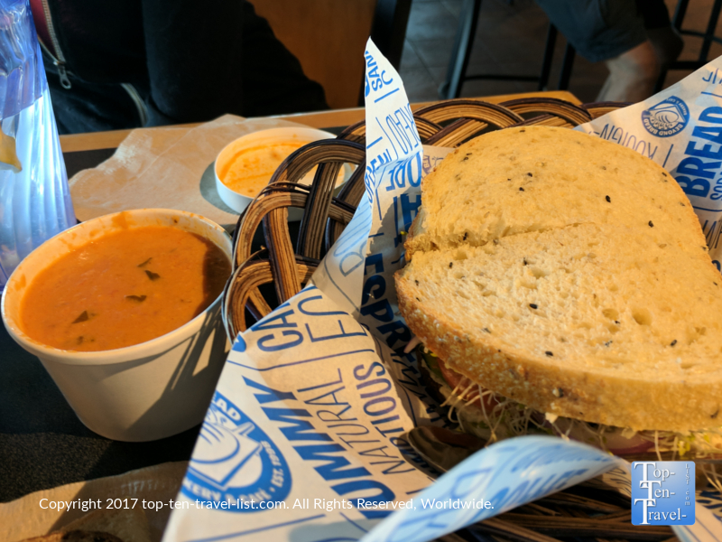 Hummus sandwich and tomato soup at Beyond Bread in Tucson, Arizona