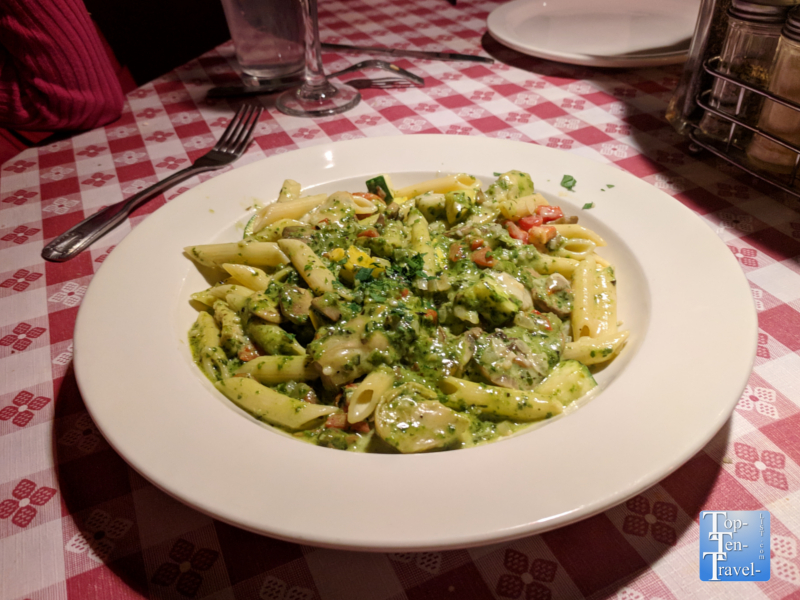 Delicious pesto pasta at Dominick's Real Italian in Tucson, Arizona