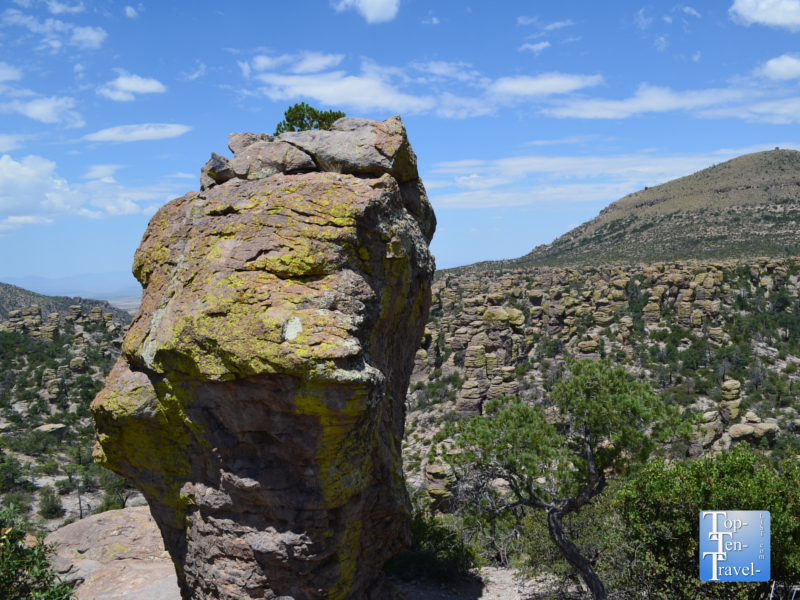 Unique rock formation along the Masai Point nature trail at Chiricahua National Monument in Southern Arizona