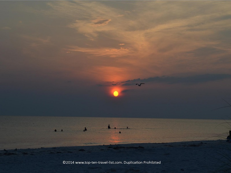 Gorgeous sunset at Honeymoon Island State Park in Florida