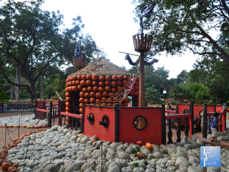 Captain Hook's Pirate ship at Pumpkin Village at the Dallas Arboretum