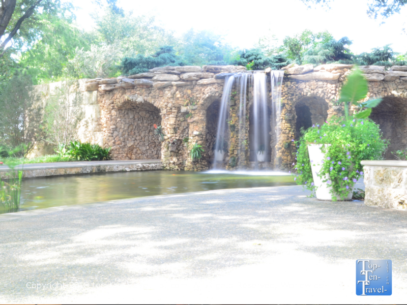 Relaxing waterfall at the Lay Family Garden at the Dallas Arboretum