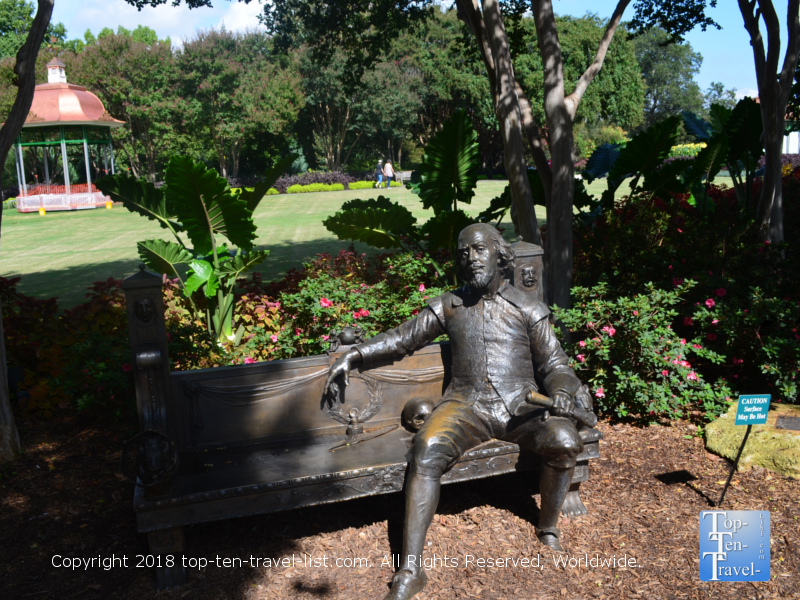 Shakespeare bench at the Dallas Arboretum