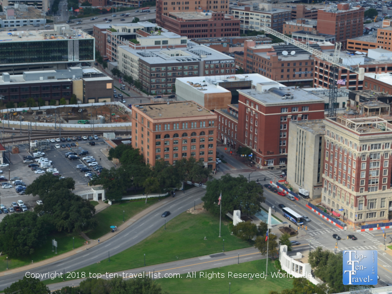 View of Dealey Plaza from the Reunion Tower in Dallas, Texas