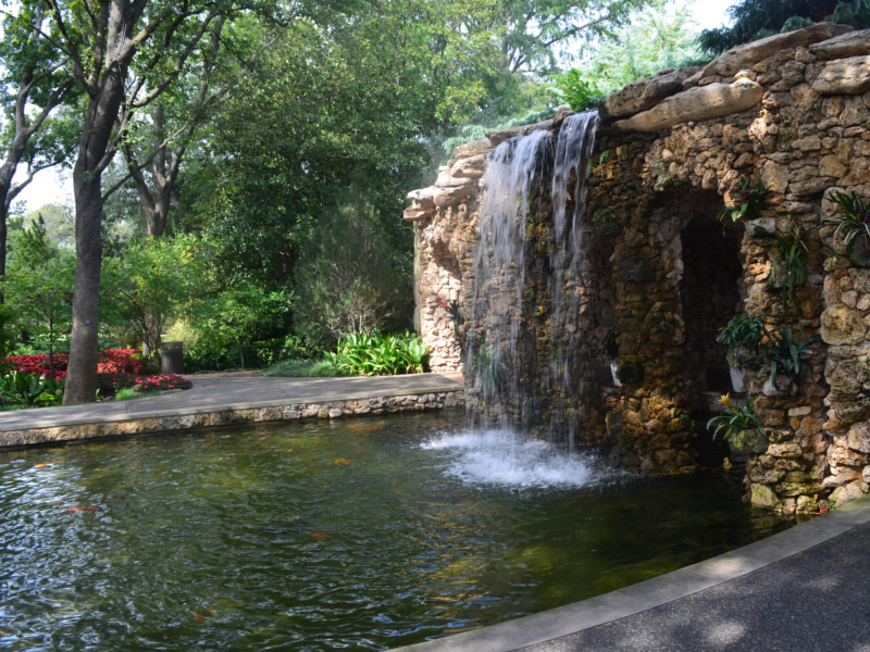 Waterfall at the Lay Family Garden at the Dallas Arboretum