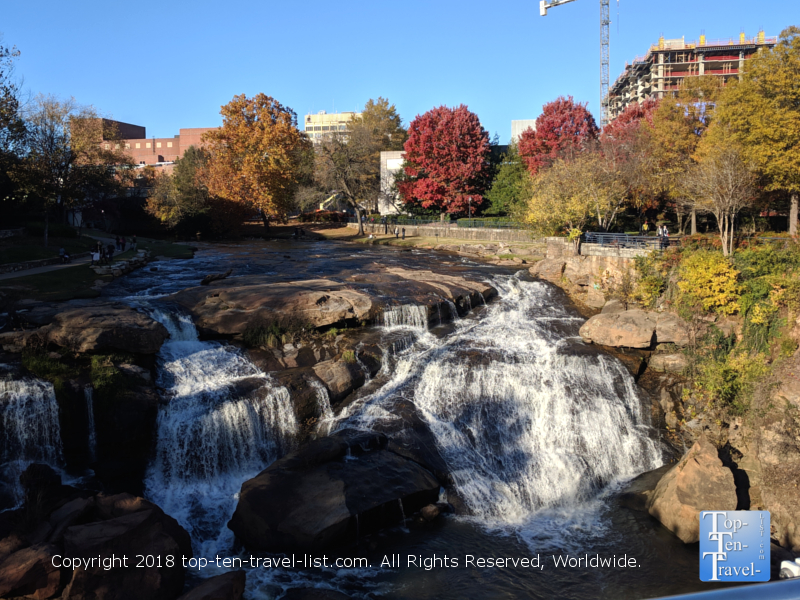 Beautiful Reedy River Park in downtown Greenville in the autumn