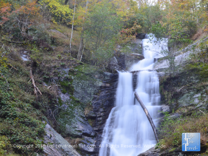 Beautiful views of Tom's Creek waterfall in Marion, North Carolina