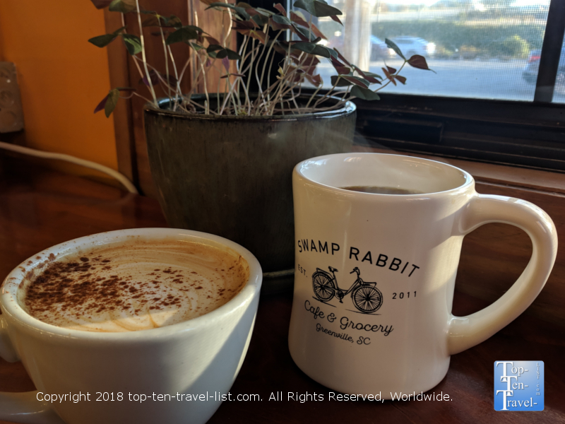 Pumpkin spice latte at the Swamp Rabbit Cafe in Greenville, SC