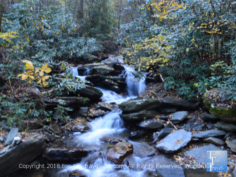 Serene waterfall along the Catawba Falls trail in North Carolina