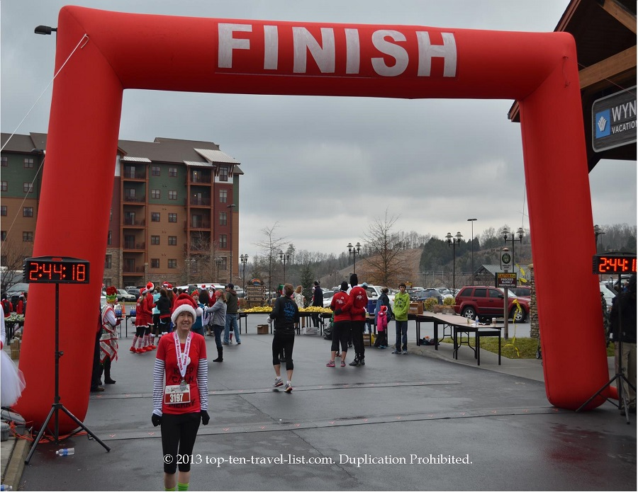 Santa Hustle half marathon in the Smoky Mountains