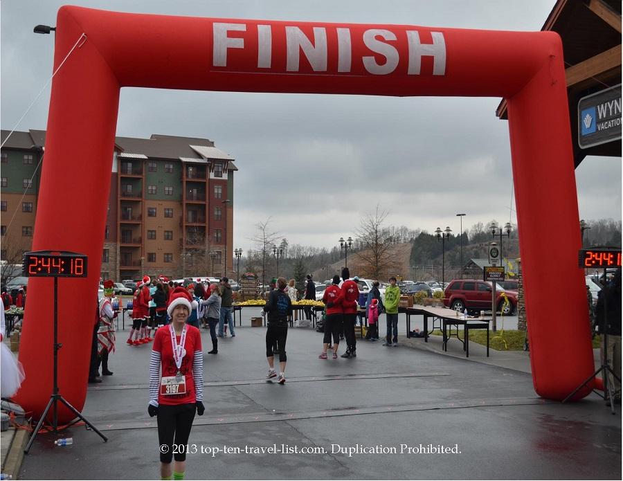 Santa Hustle half marathon in the Smoky Mountains