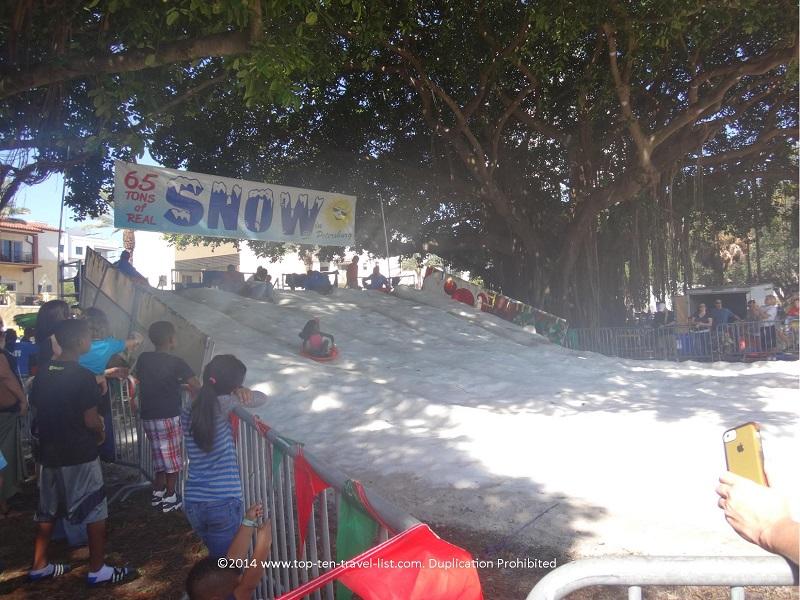 Snowfest in St. Petersburg - Sledding in Florida
