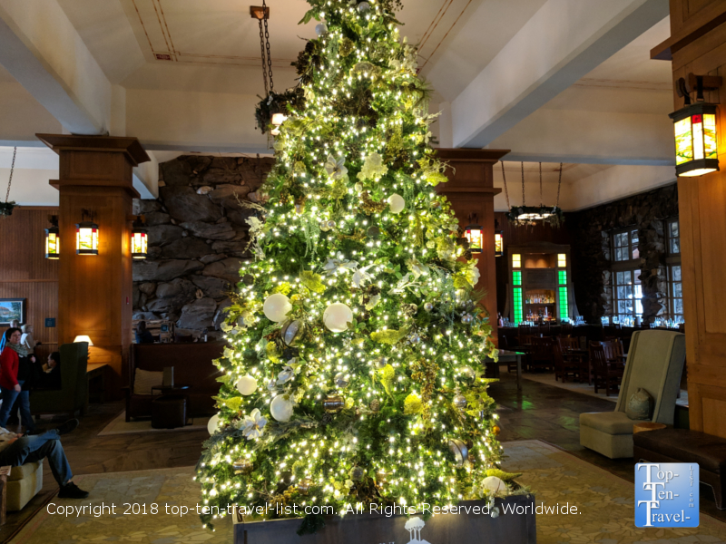 Christmas tree inside the lobby of the Omni Park Grove in Asheville, North Carolina