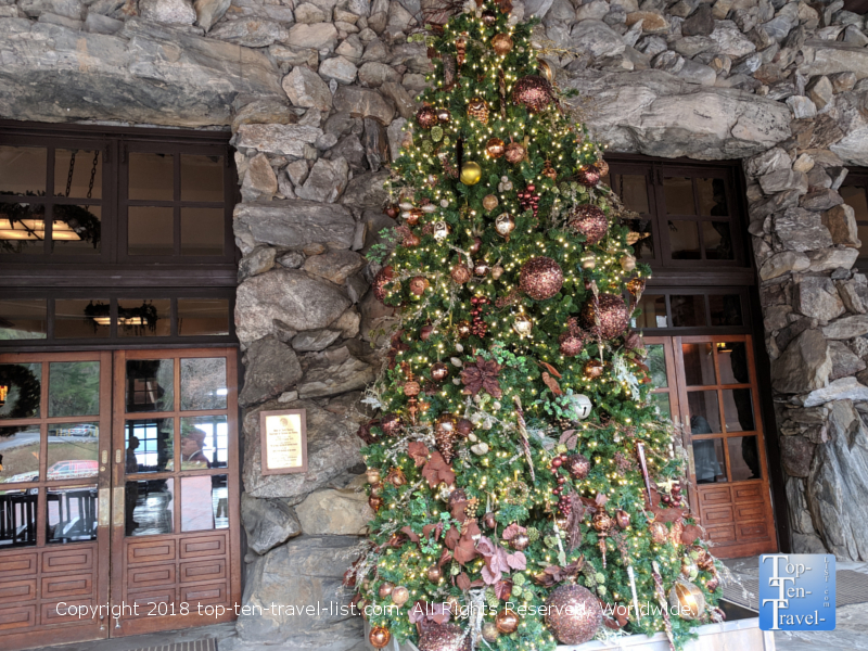 Beautiful Christmas tree outside the Omni Park Grove resort in Asheville, North Carolina